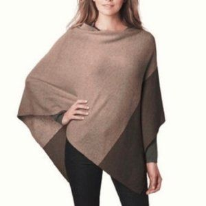 Celeste Wool cashmere blend knit tan brown Poncho